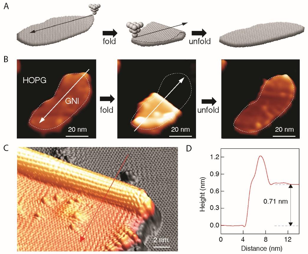 科学家实现石墨烯纳米结构原子级精准的可控折叠