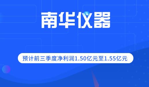 南华仪器预计前三季度净利润1.50亿至1.55亿