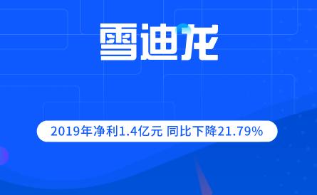 雪迪龙2019年净利1.4亿元 同比下降21.79%